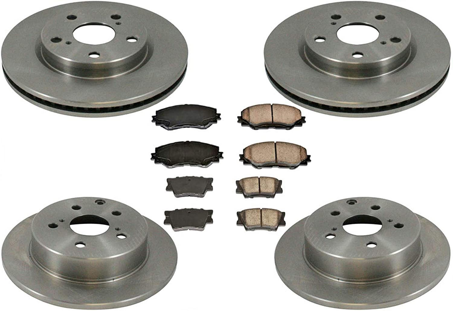 For 2008 Subaru Impreza Rear eLine Plain Brake Rotors Ceramic Brake Pads