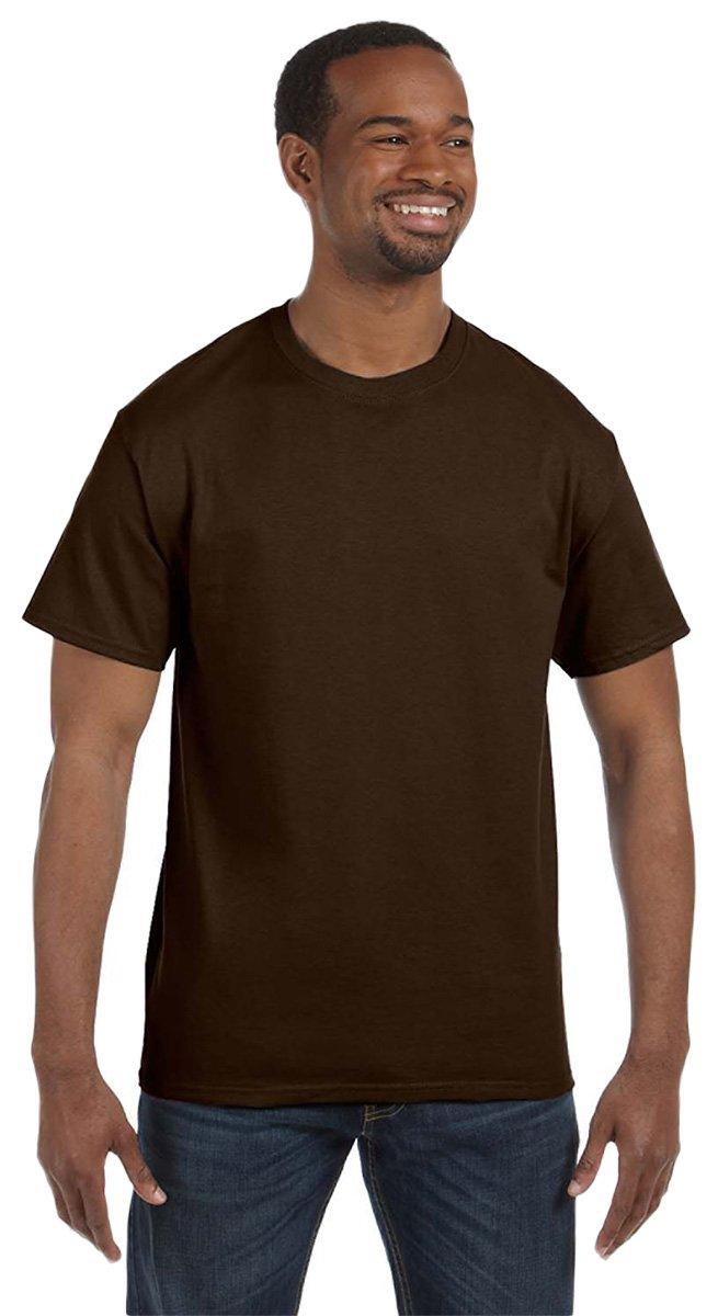 Gildan Men's Heavy Taped Neck Jersey T-Shirt, Dark Chocolate, XXXXX-Large