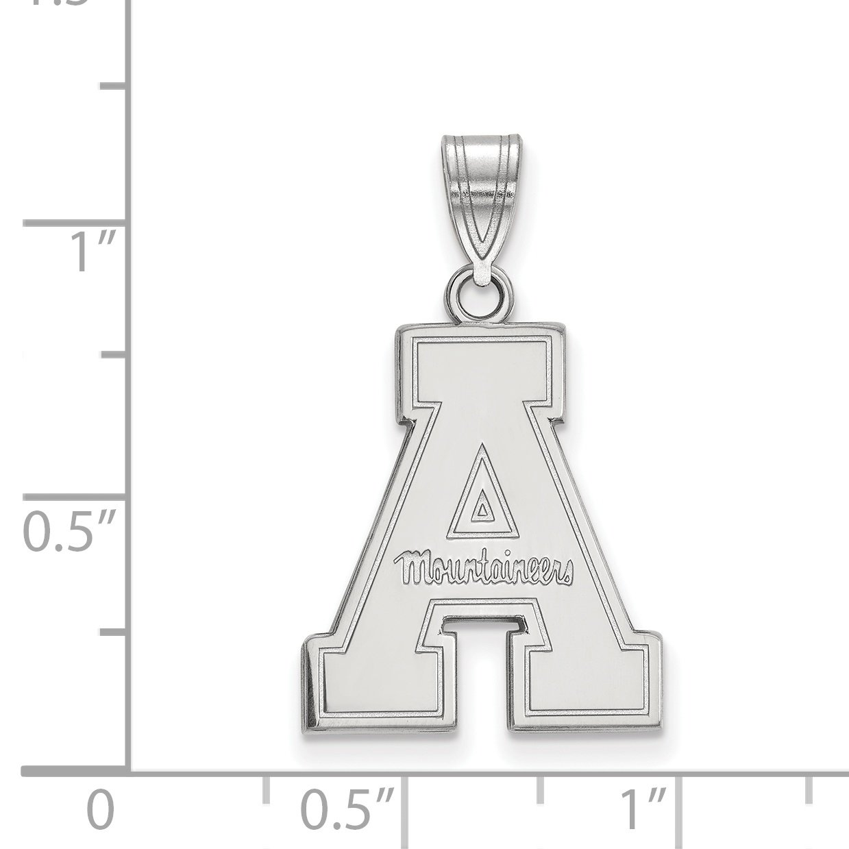 10k White Gold Appalachian State Mountaineers School Letter Logo Pendant 20x16mm