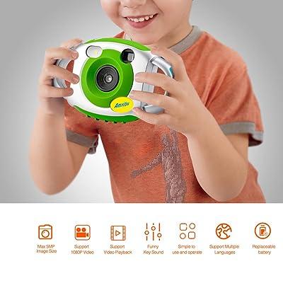AMKOV Appareil Photo Numérique Enfant Caméra Vidéo Jeux Écran 1.44 pouces Caméscope Poche Vert