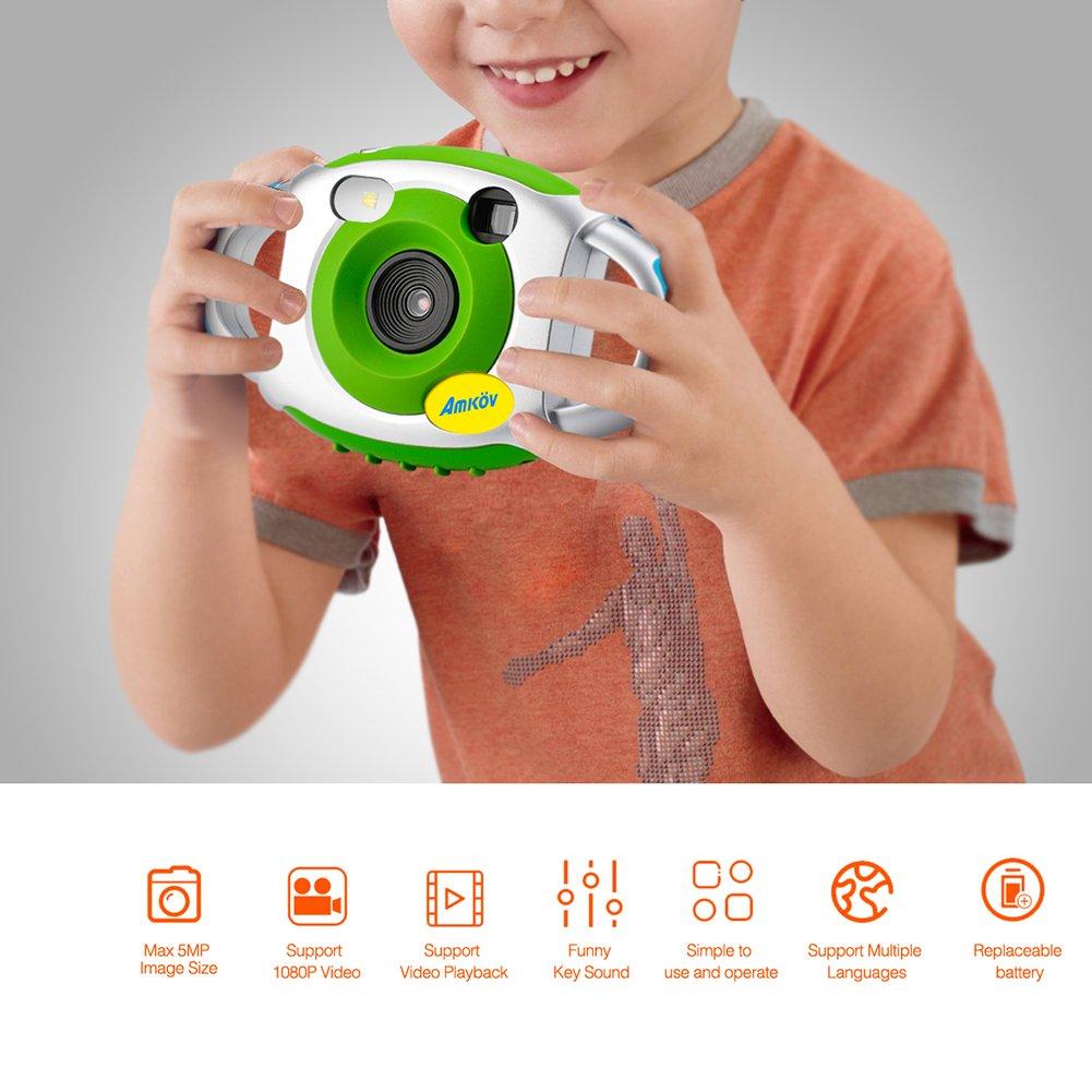 AMKOV Appareil Photo Numérique Enfant Caméra Vidéo Jeux Écran 1.44 pouces Caméscope Poche Vert Per