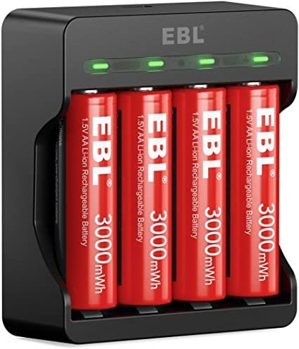 Amazon Com Ebl 4 Pack 1 5v Rechargeable Lithium Aa Battery 3000mwh Li Ion Aa Batteries With Battery Charger For Aa Aaa Lithium Batteries Electronics