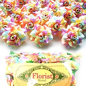 "(100) Silk Light Rainbow Roses Flower Head - 1.75"" - Artificial Flowers Heads Fabric Floral Supplies Wholesale Lot for Wedding Flowers Accessories Make Bridal Hair Clips Headbands Dress 75"