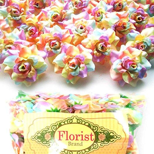 (100) Silk Light Rainbow Roses Flower Head - 1.75