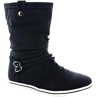817660a5c5e5ec King Of Shoes Damen Stiefeletten Stiefel Boots Flache Schlupfstiefel Schuhe