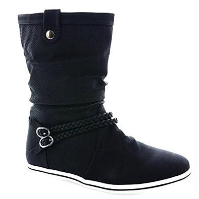 King of Shoes - Botas Plisadas Mujer, Color Negro, Talla 37