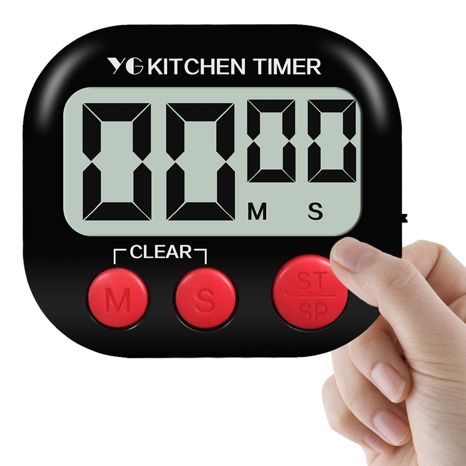 Digital Kitchen Timer, Yuangao 1 pack Cooking Timers, Large LCD Display, Loud Alarm, Magnetic Backing, Easy to Operate For Cooking, Baking, Sports, Games, Facial(Battery included, Black)