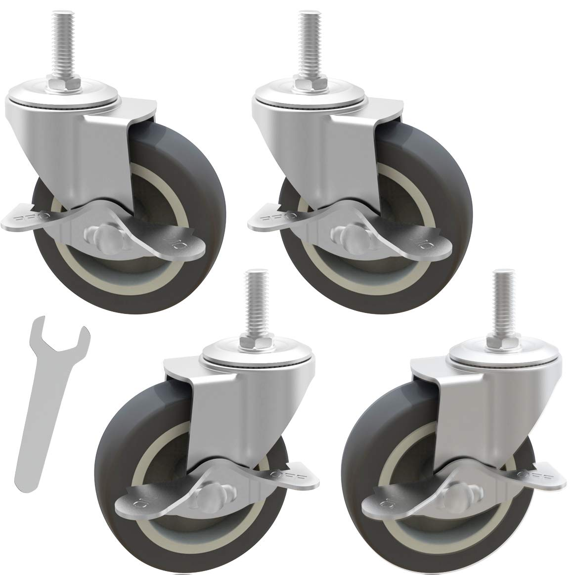 TrippNT 52985 Heavy Duty Threaded Stem Enclosed White Nylon and Rubber 4 Inch Total Lock Swivel Caster