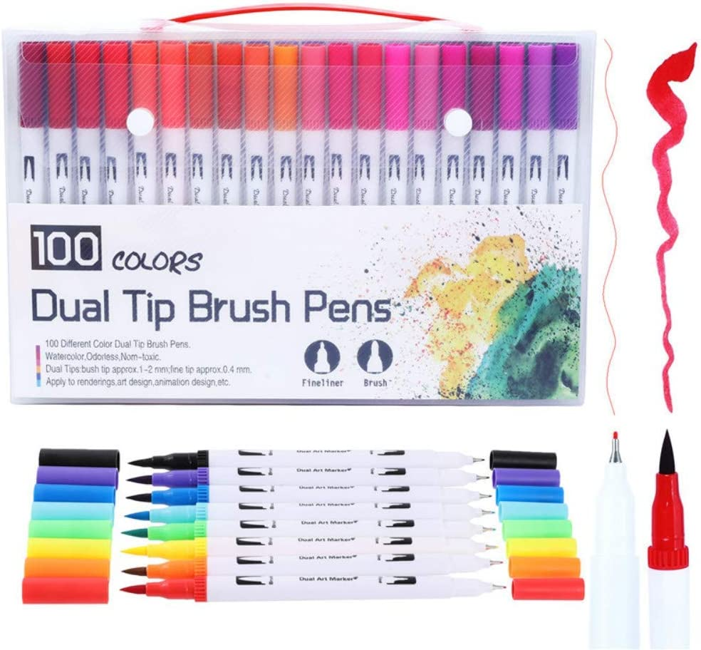 Painting Drawing 100 Colour Dual Tip Brush Pens Marker Pens Fineliner Tip 0.4 and Brush Tip Non-Toxic Odorless Markers Set for DIY Coloring Book Sketching