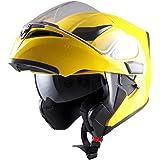 1Storm Motorcycle Modular Full Face Helmet Flip up Dual Visor Sun Shield: HB89 Glossy Yellow