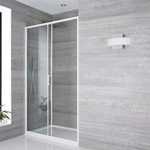 Hudson Reed Lux Puerta Ducha Deslizante con Perfil Blanco – 1500 X 1950 mm: Amazon.es: Hogar