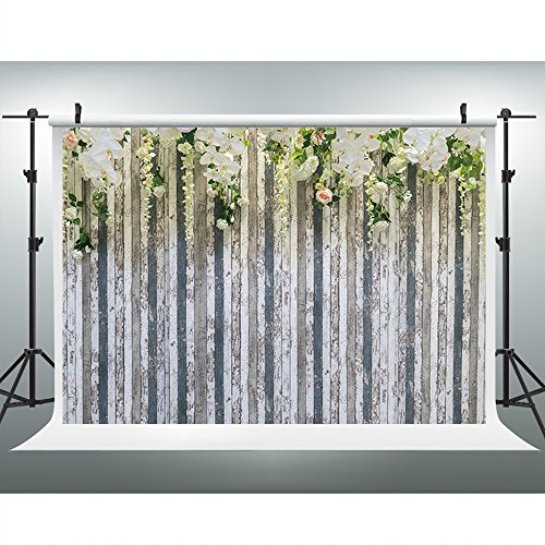 Maijoeyy 7x5ft Photography Backdrops White Light Color Flower Photo Booth Props Wood Floor Studio Props Backdrop Wedding Backdrop Flower Photo Booth Backdrop (Photo Booth Wedding Backdrop)