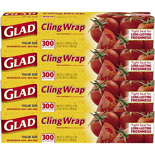 Glad ClingWrap Plastic Food Wrap - 300 Square Foot Roll - 4 - Roll Sq 200 Ft
