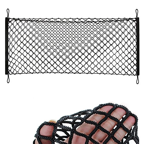6''x47.2'' to 23.6''x70.8'' Elastic Nylon Mesh Universial Rear Heavy Duty Car Organizer Net with 4 Hooks for SUV Pickup Truck Bed Rooftop Travel Luggage Rack ()