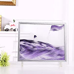Queenie Flowing Sand Frame Abstract Scenery Rectangle Glass Sandscape Desktop Art Moving Sand Painting (Black White Purple)
