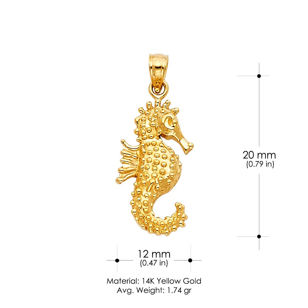 IG-01-900-0256 14K Yellow Gold Sea Horse Charm Pendant with 0.8mm Box Chain Necklace Ioka IG-01-100-1687