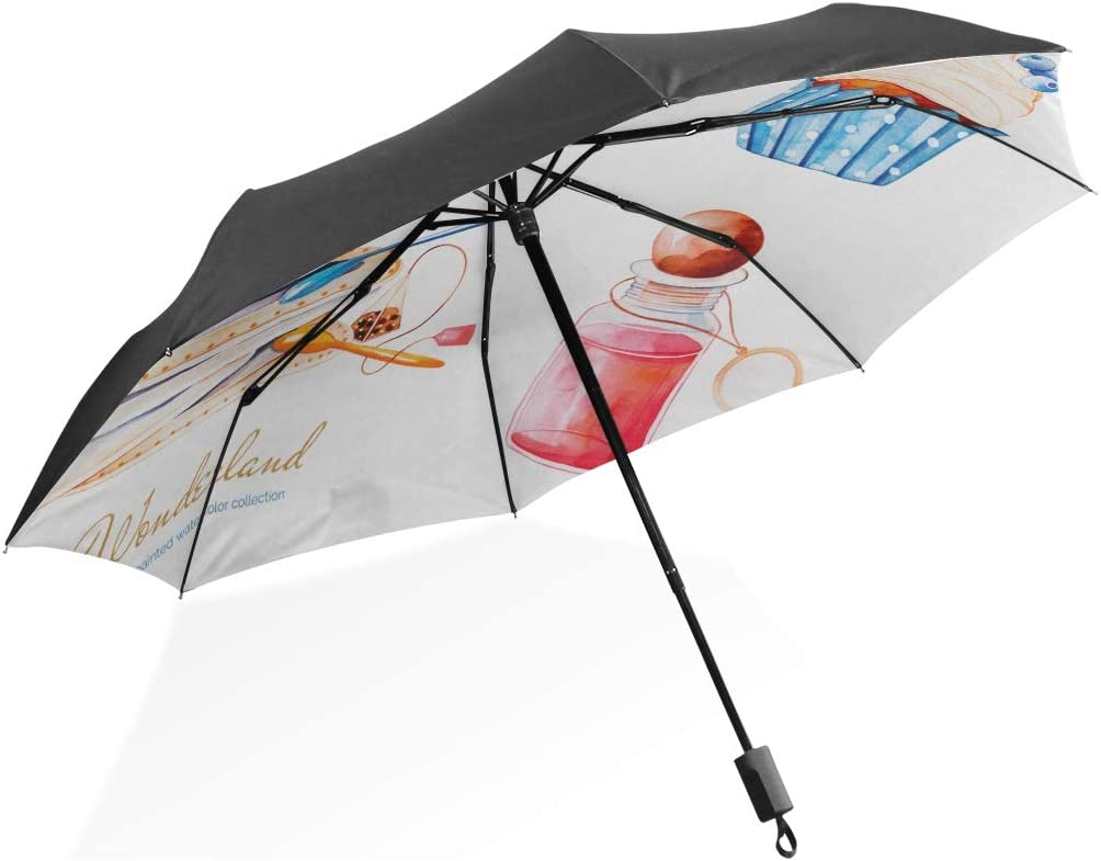 Umbrella Rain Boots For Women Wonderland Cute Bird With Cylinder Hat Portable Compact Folding Umbrella Anti Uv Protection Windproof Outdoor Travel Women Travel Umbrella For Women