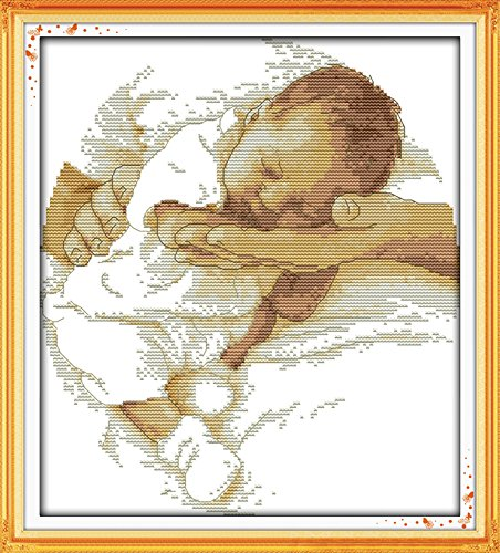 Love Counted Cross Stitch Pattern - Counted Cross Stitch Kit, Cross-Stitch Patterns Care Baby with 14CT White Fabric - DIY Art Crafts Sewing Paternal Love DIY Hand Embriodery Kit DMC 11''x12''