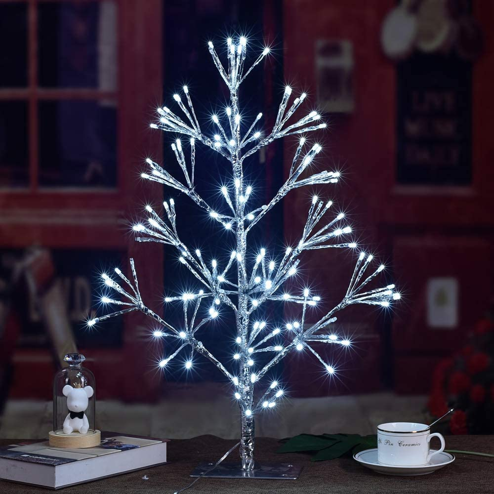 LIGHTSHARE 2ft 144L Artificial Christmas Tree Cluster Light,White Light for Home Garden Decoration,Winter,Wedding,Birthday,Christmas,Holiday,Party Decoration,Silver
