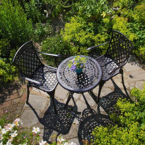 Lazy Susan - IVY Bistrotisch mit 2 Stühlen - Rundes Gartenmöbel Set aus Metall, Antik Bronze (ROSE Stühle, Terracotta Kissen)