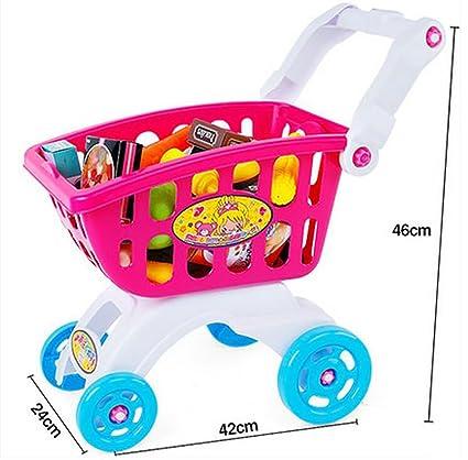 Carro infantil de Simulación de juguetes para niños, niña en el supermercado pequeño carrito de