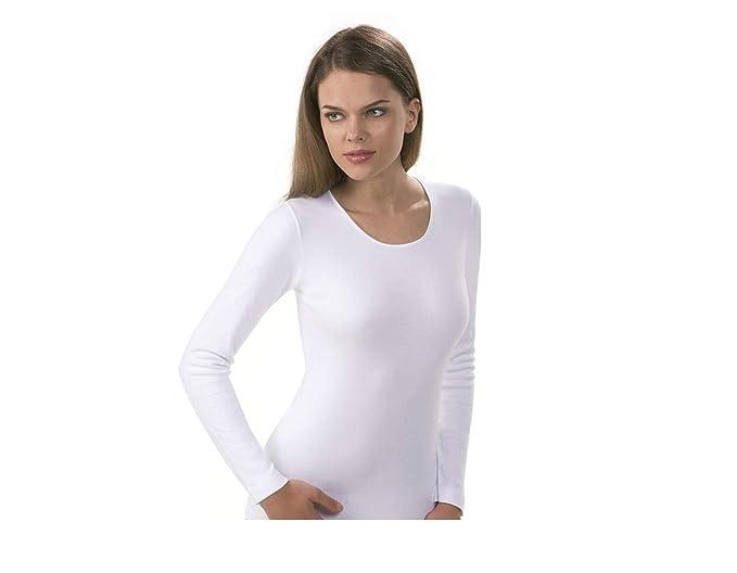 Maglia intima donna caldo cotone corpetto maglietta manica lunga (3°(small) 58a25971084