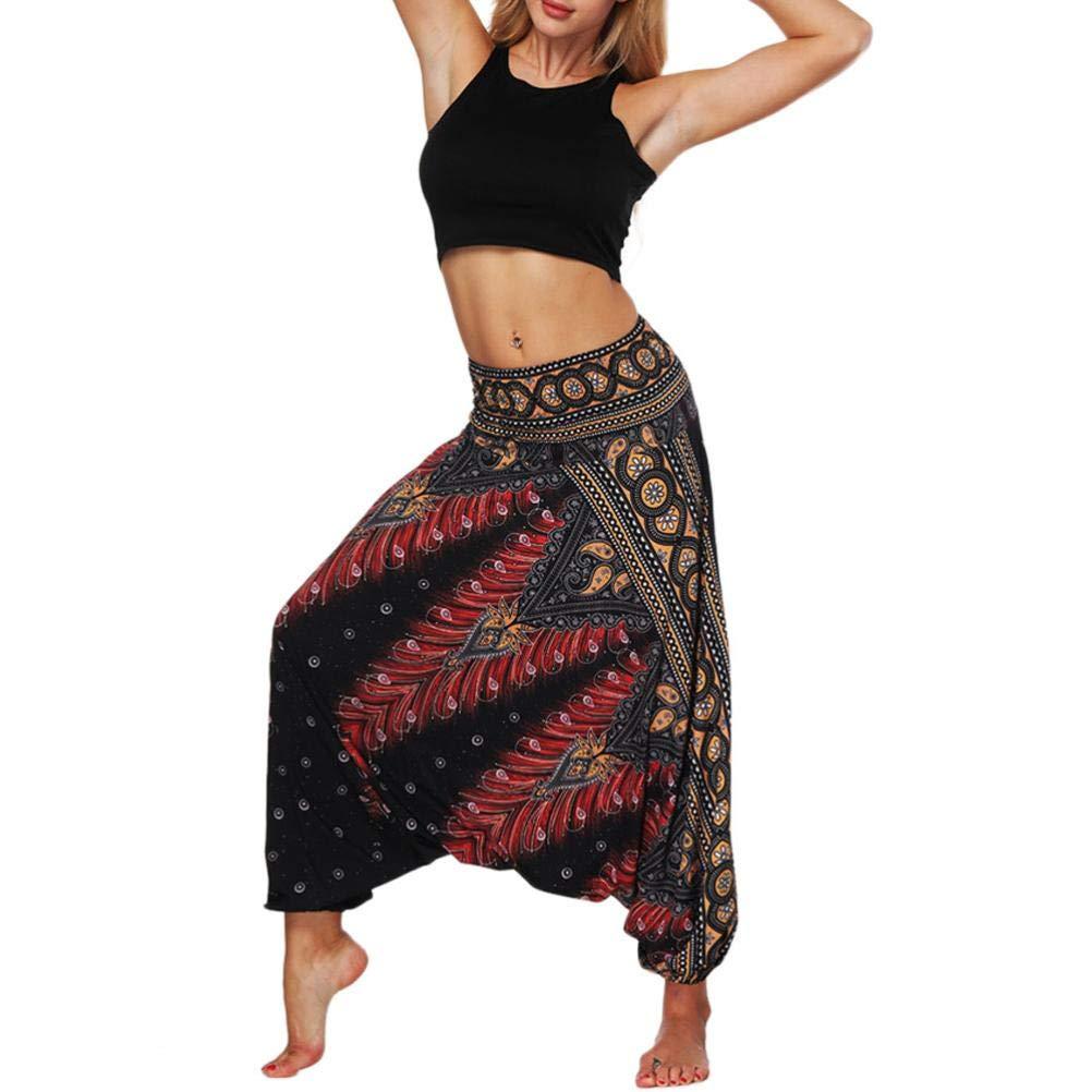 6d0524e9f26e Amazon.com  iYBUIA Women s Rayon Print Smocked Waist Boho Harem Aladdin  Yoga Pants Black  Clothing
