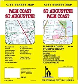 Map Of Palm Coast Florida.St Augustine Florida Palm Coast Street Map Gm Johnson City Map