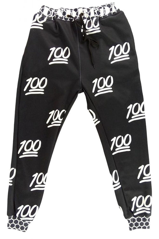 iecool Women's 100 Score Emoji Jogger Pants Large Black White