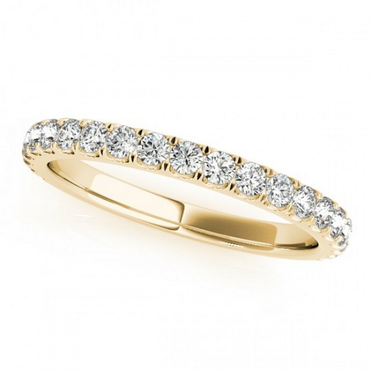 Elegant French Pave Set Diamond Wedding Ring Semi Eternity Style in 18k Yellow Gold with 0.45 carats