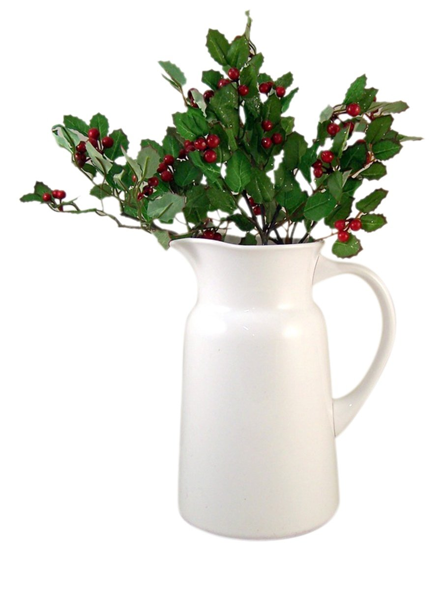 HAPPINEST Decorative White Acrylic Pitcher with Holly Arrangement, 9.75 Inch Pitcher by HAPPINEST