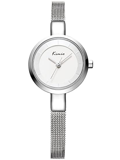 Alienwork Reloj Mujer Relojes Acero Inoxidable Plata Analógicos Cuarzo Impermeable Elegante Strass Purpurina
