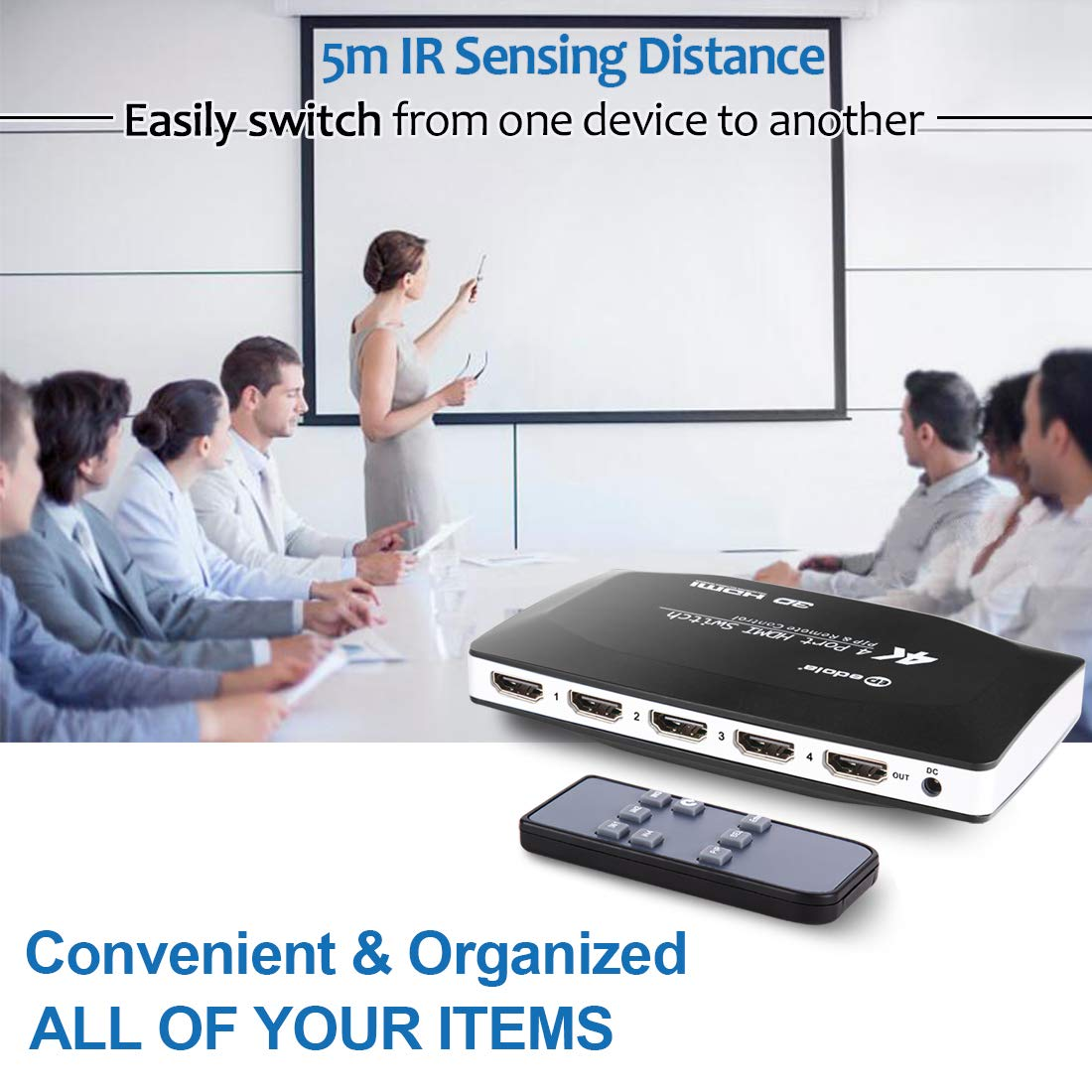 Apple Unix KVM Switch HDMI MAC Linux Netware Android edola 2 Port USB HDMI Kvm Switch with 3.9ft KVM Cable for 2 PC Sharing Cables /& USB Peripheral Support 4K@60Hz Compatible with Windows