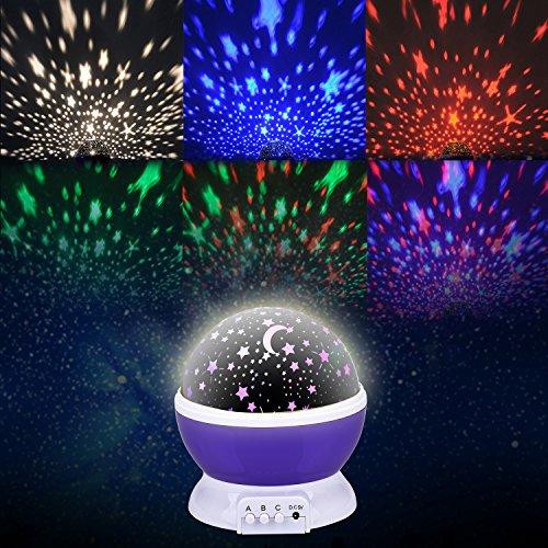 Liqoo® Sternenhimmel Projektor 360 Grad 4 LED-Korne Romantische Nacht Lampe Tischlampe drehbar Sterne Projektionslampe für Haus, Schlafzimmer, Kinder Zimmer, Weihnachten, Hochzeit, Geburtstag, Party