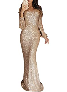 a02712b08cccc ROSKIKI Womens Sexy Sequin Long Tassel Sleeve Formal Evening Dresses Long  Bodycon Cocktail Party Dresses