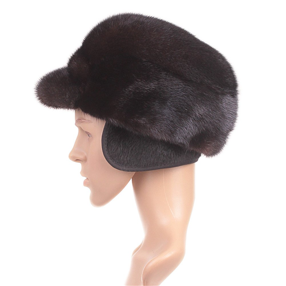 Roniky Men's Whole Set Sheared Mink Russian Cossack Hat with Ear