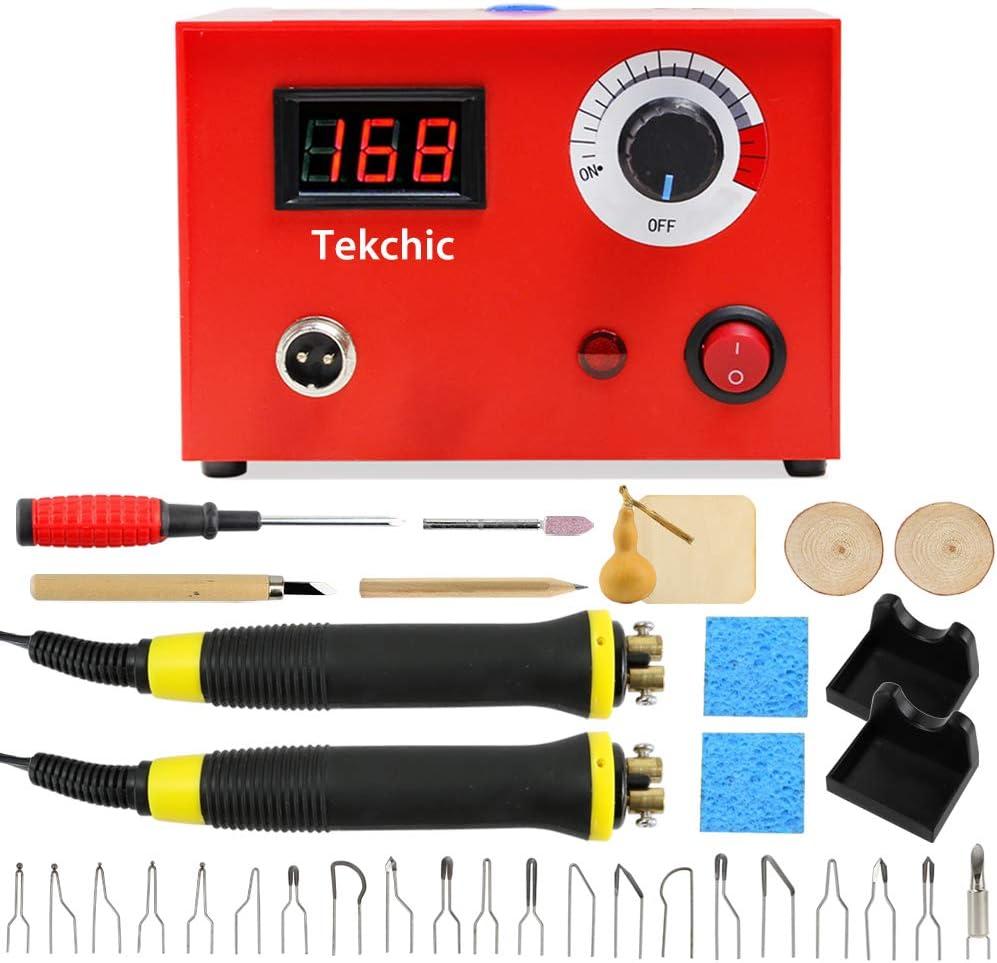 Atyhao 52PCS Kit de Quema de Madera Azul Pluma de pirograf/ía el/éctrica Kit de Soldadura de Hierro con Temperatura Ajustable para Madera Cuero Quemado Talla Grabado en Relieve Soldadura
