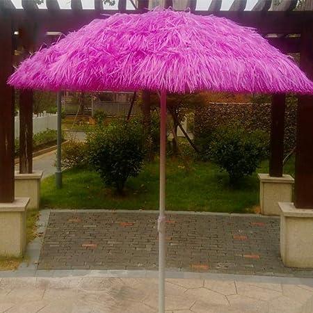 WWWRL Sombrilla De Jardín Al Aire Libre | 1.6m Paraguas Superficie Curvatura | PP Rosa Simulación Paja Sombrilla | Alto 2m | - para Balcón/Terraza/Sol de Playa/Patio - sin Base: Amazon.es: Hogar