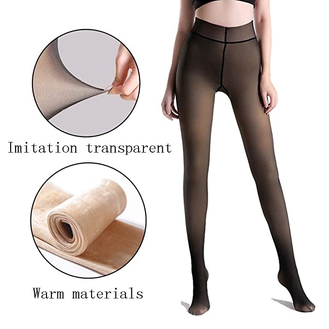 6e640a9a79b8f Image Unavailable. Image not available for. Color: Women's Warm Tights  Control Top Soft Footed Pantyhose Fleece Polyester Lined