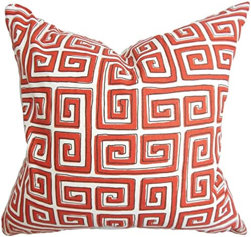 The Pillow Collection Klemens Geometric Pillow, Red