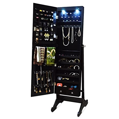 Espresso Dark Brown Mirrored Jewelry Cabinet Armoire Stand Free Led Light