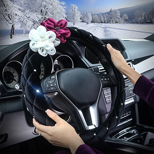 PU Leather Black A.B Crew Advanced PU Leather Camellia Flower Car Steering Wheel Cover Wrap Car Interior Trim