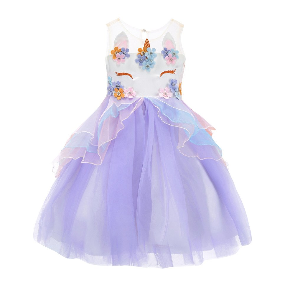 Flower Girl Unicorn Tulle Dress 3D Embroidery Beading Flower Birthday Party (Purple, 110(4-5Y))