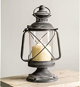 Hurricane Candle Lantern- Metal Lantern Candle Holder, Rustic Indoor/Outdoor Light for Your Home Decor - Modern Rustic Vintage Farmhouse Style (Candle not Included)