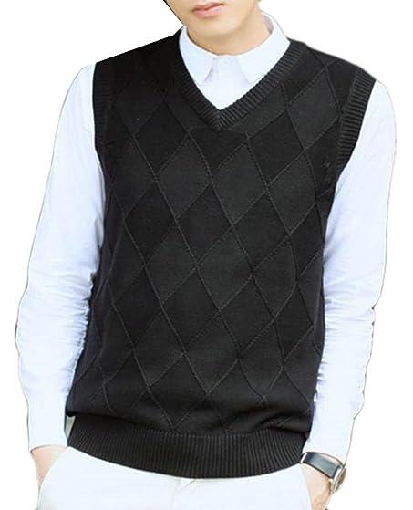 Cruiize Men's Casual Junior V-neck Sleeveless Sweater Vest ...