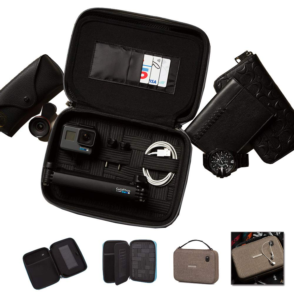 NaSaDen Hardshell travel Storage case -Portable shoulder bag,Electronic Organizer Universal Cable Organizer, hard-side case for Cable, Charger, Phone, Room card. Flexible to be a cosmetics case