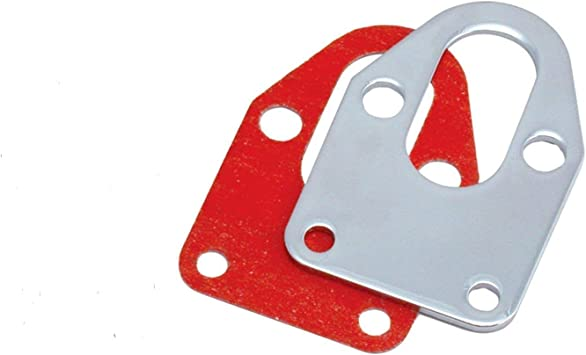 SBC Chrome Fuel Pump Mounting Plate /& Gasket 283 327 350 383 Small Block Chevy