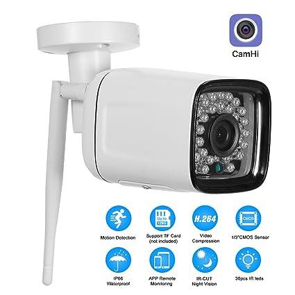 OWSOO 1080P HD Cámara Bala de Vigilancia Cámara IP Inalámbrico Impermeable 2.0MP 30pcs Infrarrojos LED