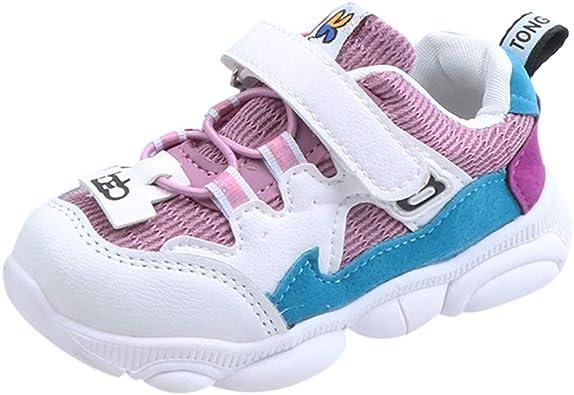 Hukezhu - Zapatillas Deportivas para niños y niñas, 2019 actualizadas, para bebé, niños, niñas y bebés, con Parche de Malla, para Deporte, Correr, Zapatos Informales, Color Morado, Talla 23 EU: Amazon.es: Zapatos