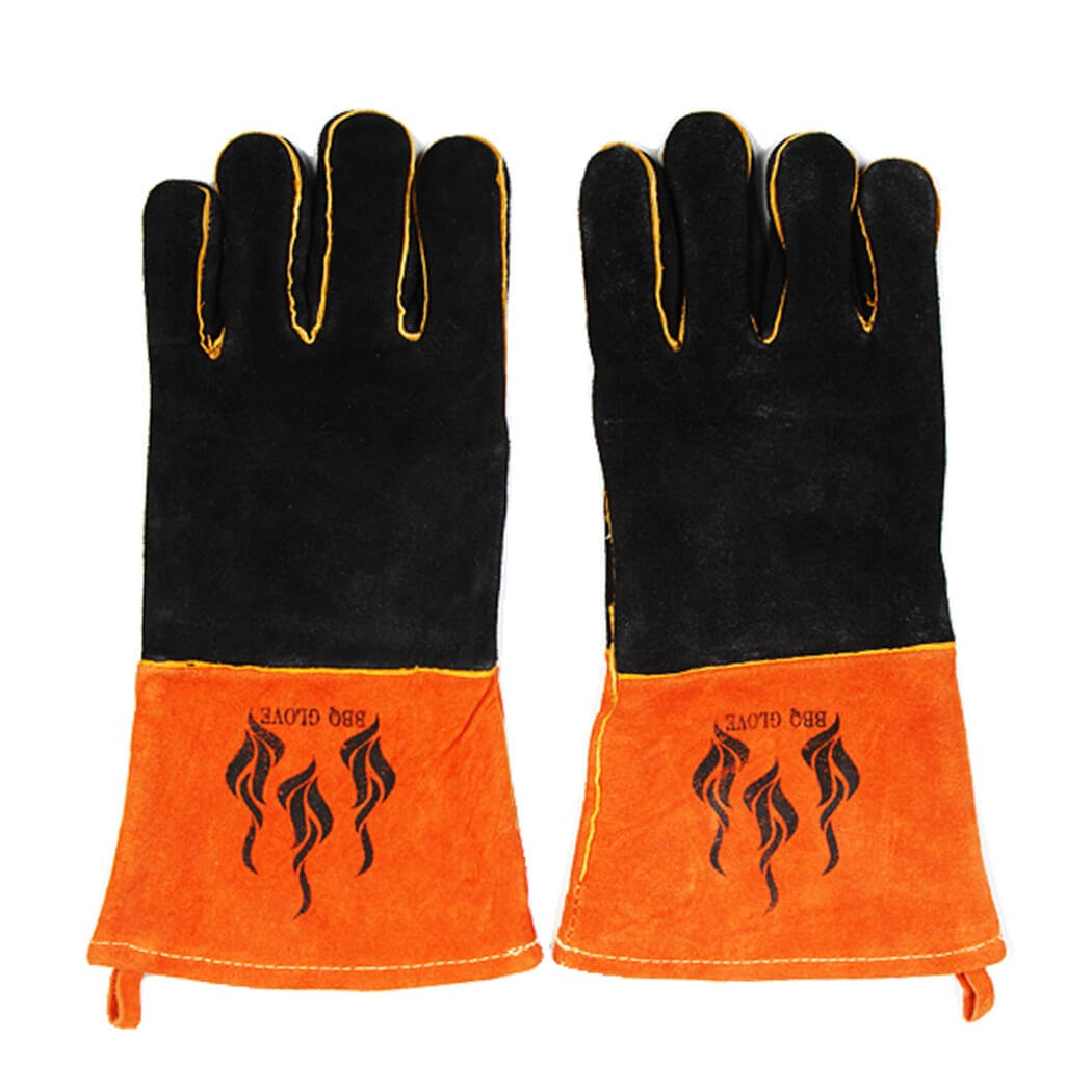 Premium Leather BBQ Gloves Heat Resistant Grilling Cooking Oven Protective Mitts for Barbecue, Baking, Camping, Fireplace, 1 Pair